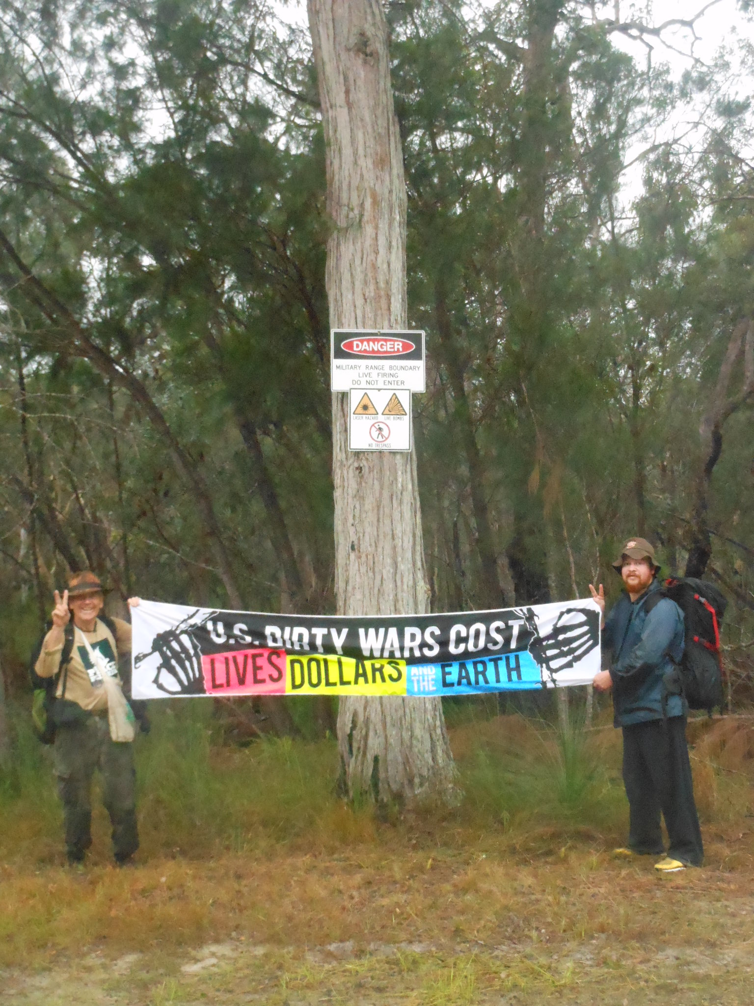Peace activists Graeme Dunstan and Greg Rolles as they enter the Shoalwater Bay exercise area